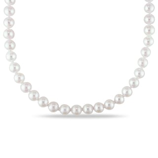 Miadora 14k Yellow Gold Cultured Akoya 5-5.5mm Pearl Necklace (16-20 inch)