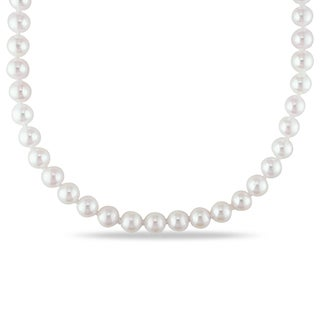 Miadora 14k Yellow Gold Cultured Akoya 5-5.5mm Pearl Necklace (16-20 inch) with Bonus Earrings