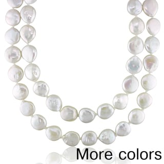 Miadora Freshwater White or Grey Pearl Endless Necklace (13-14 mm)