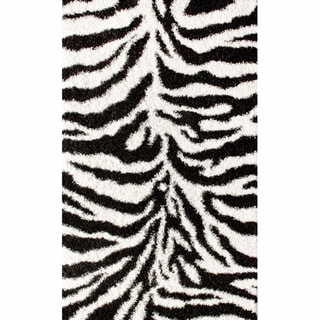 nuLOOM Luna Black and White Zebra Shag Rug (4' x 6')