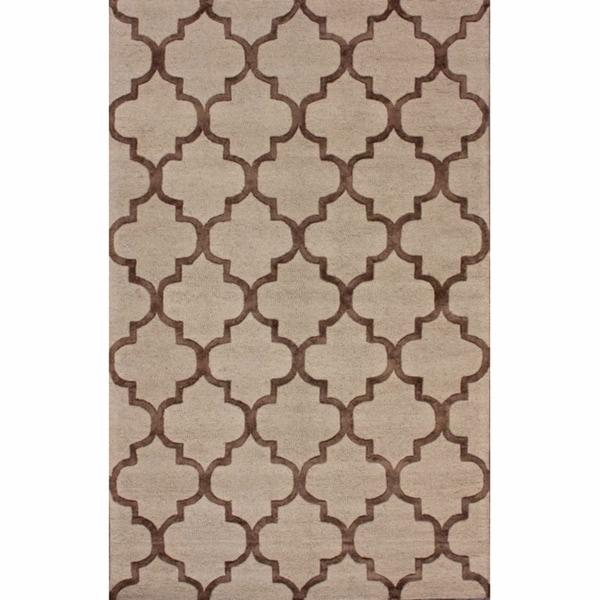 nuLOOM Handmade Moroccan Trellis Brown Faux Silk / Wool Rug