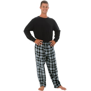 Alexander Del Rossa Men's Knit Top with Flannel Pants Pajamas