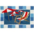 Beach Chair and Umbrellas Blue Indoor/ Outdoor Rug (1'9 x 2'9)