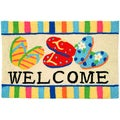 Flip Flop Welcome Yellow Indoor/ Outdoor Rug (1'9 x 2'9)