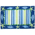 Shells and Stripes Blue Indoor/ Outdoor Rug (1'9 x 2'9)