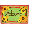 Welcome Sunflowers Red Indoor/ Outdoor Rug (1'9 x 2'9)