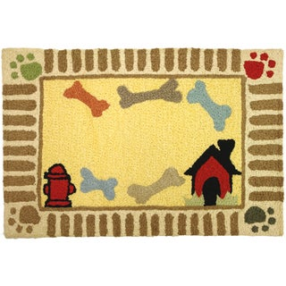 Doggie Bones Embroidery Brown Indoor/ Outdoor Rug (1'9 x 2'9)
