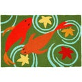 Koi Pond Green Indoor/ Outdoor Rug (1'9 x 2'9)