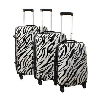 World Traveler Zebra 3-piece Lightweight Hardside Spinner Luggage Set with Combination Lock