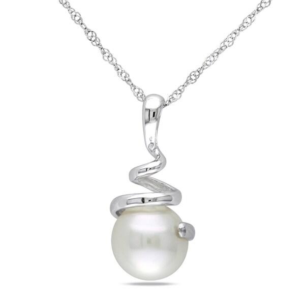 Miadora 14k White Gold White Cultured Akoya Pearl Necklace (8-8.5 mm)