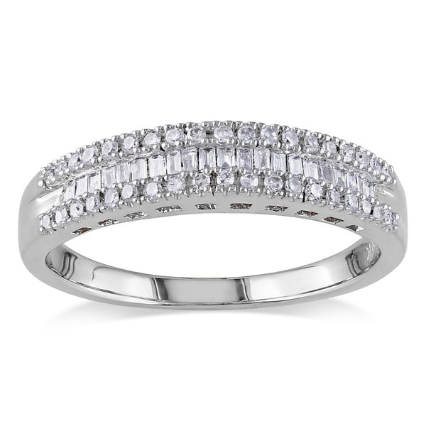 Miadora 14k White Gold 1/4ct TDW Baguette-cut Diamond Ring (G-H, I1-I2)