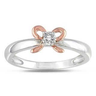Haylee Jewels Silver and 14k Rose Gold Diamond Accent Bow Ring