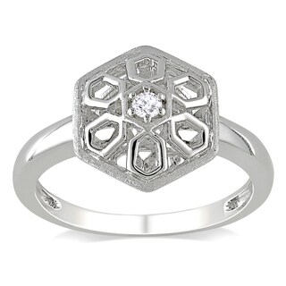 Haylee Jewels Sterling Silver Geometric Diamond Accent Ring