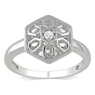 Miadora Sterling Silver Round-cut Diamond Hexagonal Accent Ring
