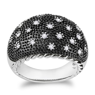 Miadora Black Rhodium Sterling Silver 1/3ct TDW Diamond Ring (H-I, I2-I3)