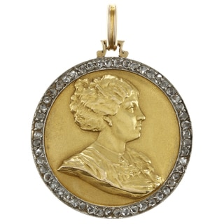 18k Gold 1ct TDW Diamond Antique Locket Estate Pendant (I-J, VS1-VS2)