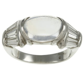 Platinum Moonstone and 1 1/5ct TDW Diamond Estate Ring (H-I, SI1-SI2)