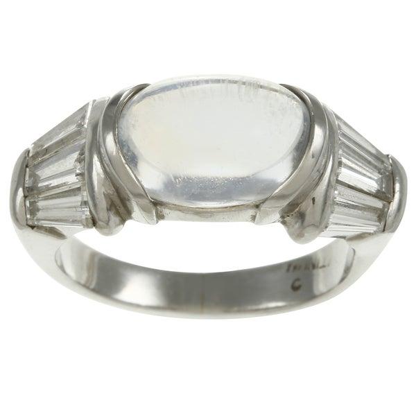 Platinum Moonstone and 1 1/5ct TDW Diamond Estate Ring (H-I, SI1-SI2)