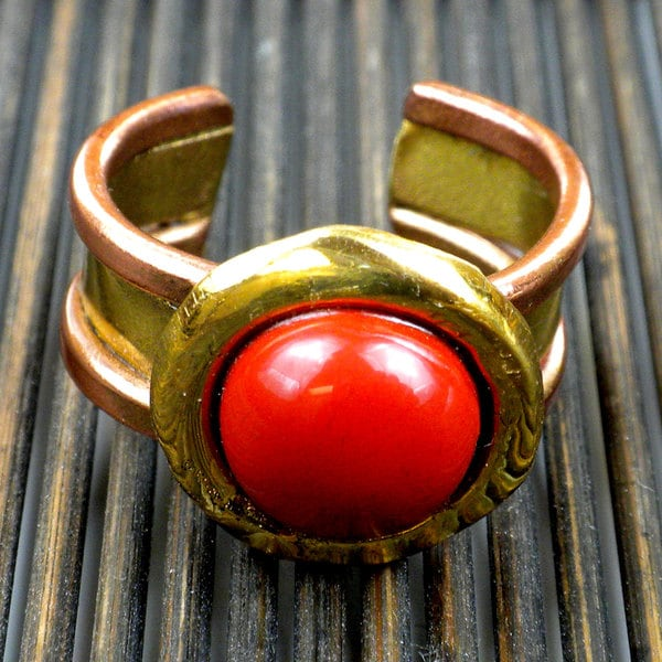 Brass and Copper Carnelian Circle Ring (South Africa)