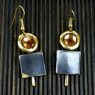 Handmade Brass Showplace Topaz Earrings (South Africa)