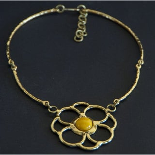 Handmade Brass Yellow Jade Flower Necklace (South Africa)