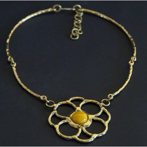 Handmade Brass Yellow Jade Flower Necklace (South Africa)