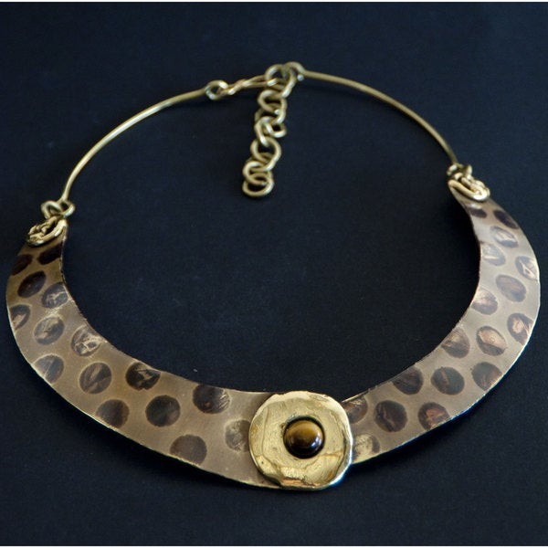 Handmade Brass Tigers Eye Spot On Necklace