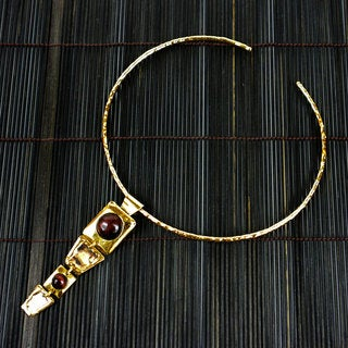 Handmade Brass and Red Tigers Eye Pendant Hoop Necklace (South Africa)