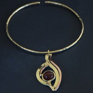 Handmade Brass Carnelian Eye Pendant Necklace (South Africa)