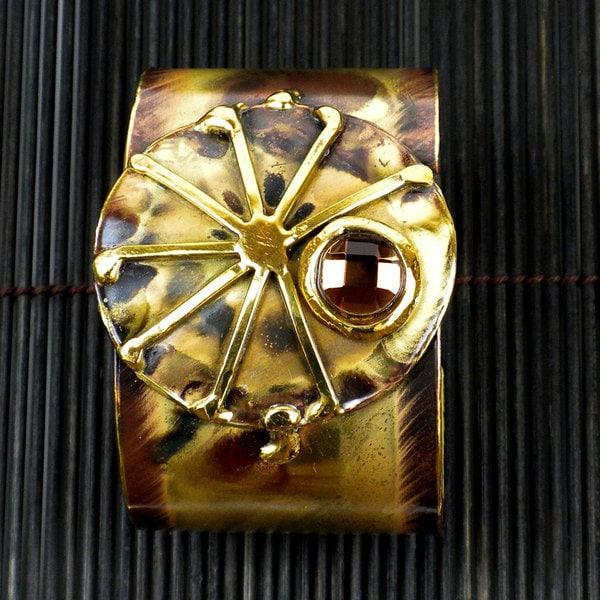 Handmade Brass Topaz Sunburst Cuff (South Africa)