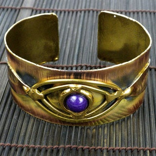 Handmade Brass and Copper Purple Jade Eye Cuff (South Africa)