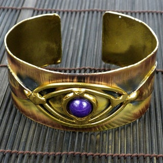 Handmade Brass and Copper Purple Jade Eye Cuff (South Africa)