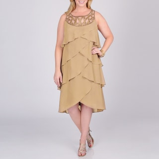 S.L. Fashions Women's Plus Toffee Tiered Evening Dress