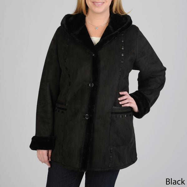 Excelled Women's Plus Size 3/4 Length Faux Shearling Coat w/Hood & Faux Leather Trim Detail