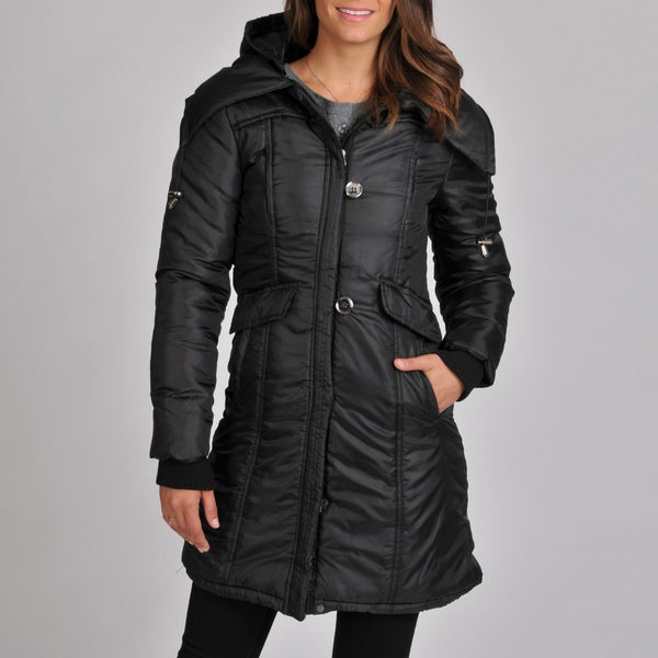 Excelled Women's Poly Quilted Stadium Length Coat with Removable Hood