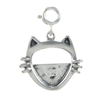 Sterling Silver Cat Face Frame Charm