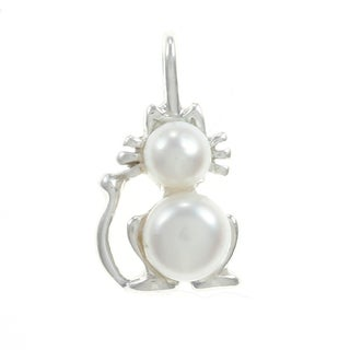 Sterling Silver White Freshwater Pearl Cat Charm (4-6 mm)