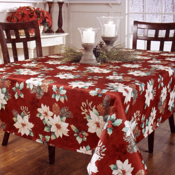 Joyous Christmas Floral Printed Tablecloth