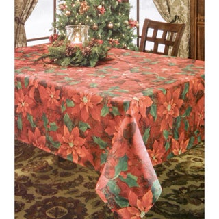 Poinsettia Elegance Printed Tablecloth