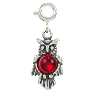 Sterling Silver Red Crystal Owl Charm