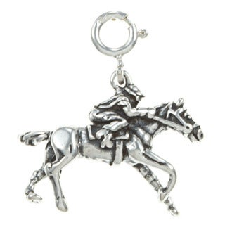 Sterling Silver Horse and Jockey Charm