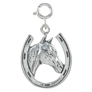 Sterling Silver Horse Head and Horseshoe Charm