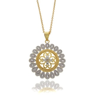 Finesque Two-tone Silver Overlay Diamond Accent Medallion Necklace