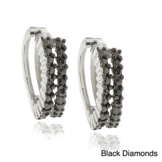 Finesque Sterling Silver Black or White Diamond Accent Hoop Earrings