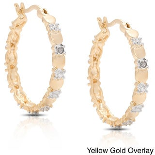 Finesque Gold Overlay Heart Diamond Accent Earrings