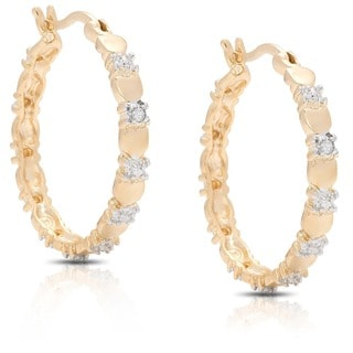 Finesque 18k Two-tone Gold Overlay Diamond Accent Heart Hoop Earrings