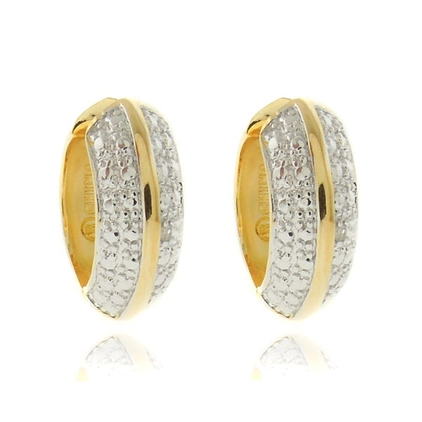Finesque 18k Two-tone Gold Overlay Diamond Accent Hoop Earrings