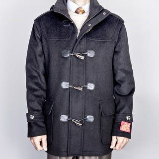 Men's Black Wool/ Cashmere Blend Toggle Coat