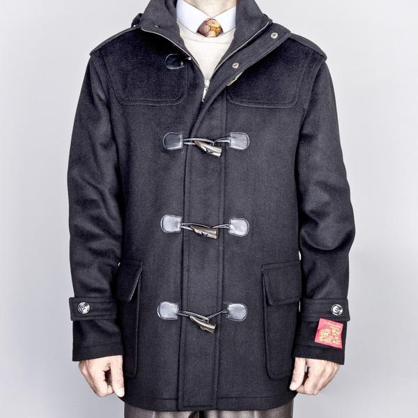 Men's Black Wool/ Cashmere Blend Toggle Coat