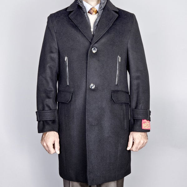 Black Wool/ Cashmere Topcoat with Removeable Vest